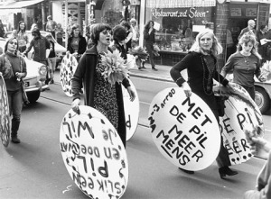 "Dolle Mina's ('Crazy Mina's')  protesting to get The Pill legalised (""More of a human with the Pill"")"